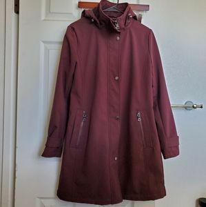 Dusty plum Calvin Klein hooded raincoat